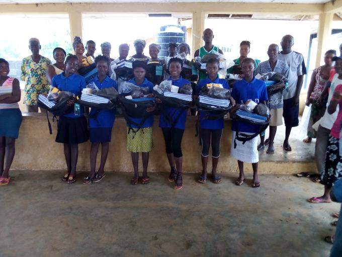 AEP Pupils receive school supplies in one of the AEPs in Pujehun district